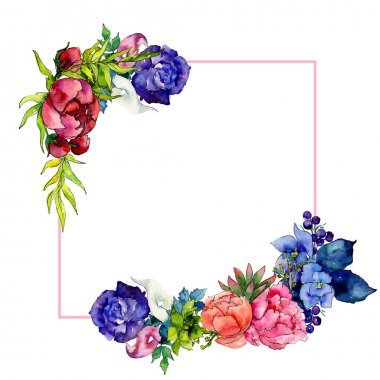 Bouquet wildflower flower frame in a watercolor style. Full name of the plant: rose, peony. Aquarelle wild flower for background, texture, wrapper pattern, frame or border. stock vector