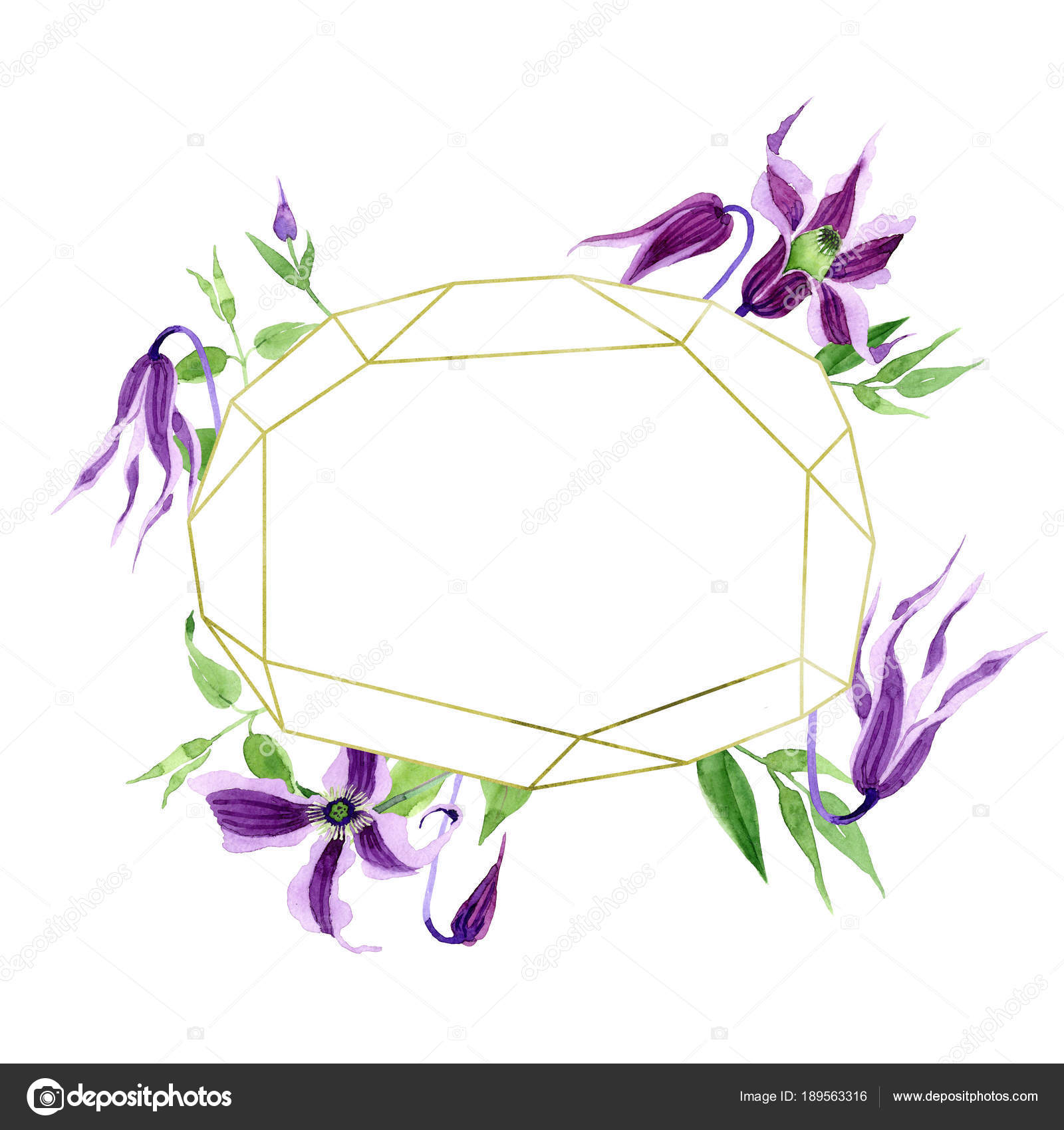 Wildflower Clematis Hanajima Blume Kranz im Aquarell-Stil ...