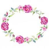 Fotografie Věnec růže květ wildflower ve stylu akvarelu