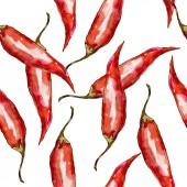 Fotografie Pepper wild vegetables in a watercolor style pattern.