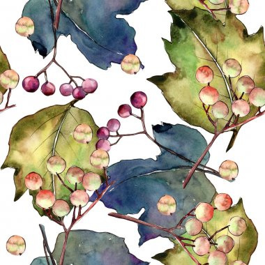 Viburnum leaves in a watercolor style pattern.