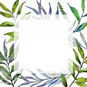 Fényképek Fűzfa ág akvarell stílusú keret