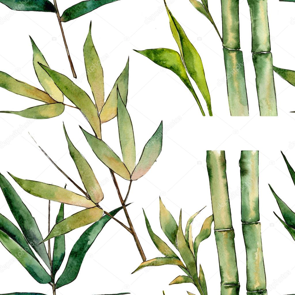 Bamboo tree pattern in a watercolor style.