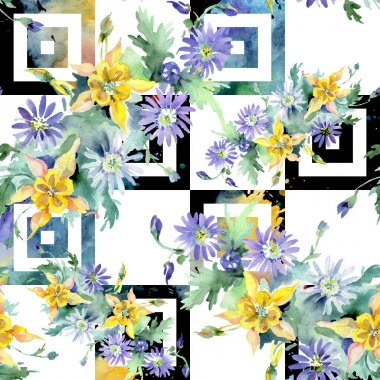 Bouquet floral botanical flowers. Wild spring leaf wildflower isolated. Watercolor illustration set. Watercolour drawing fashion aquarelle. Seamless background pattern. Fabric wallpaper print texture. stock vector