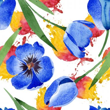 Blue tulip botanical flowers. Wild spring leaf wildflower isolated. Watercolor illustration set. Watercolour drawing fashion aquarelle. Seamless background pattern. Fabric wallpaper print texture. stock vector