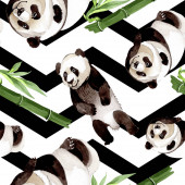 Photo Exotic panda wild animal isolated. Watercolor background illustration set. Seamless background pattern.