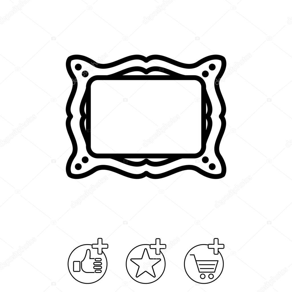 Icono de la línea de Web. Marco de fotos — Vector de stock ...