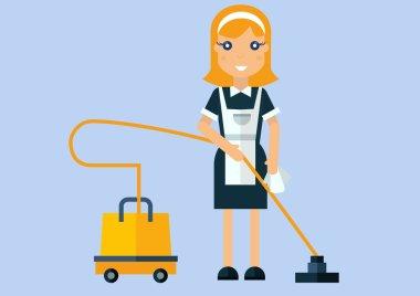 House maid  woman with aspirator.