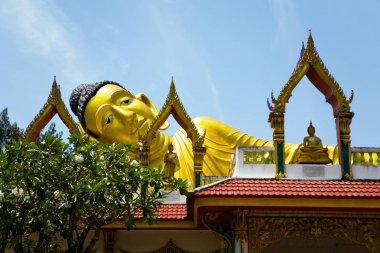 Sculpture of the Great Golden reclining Buddha.