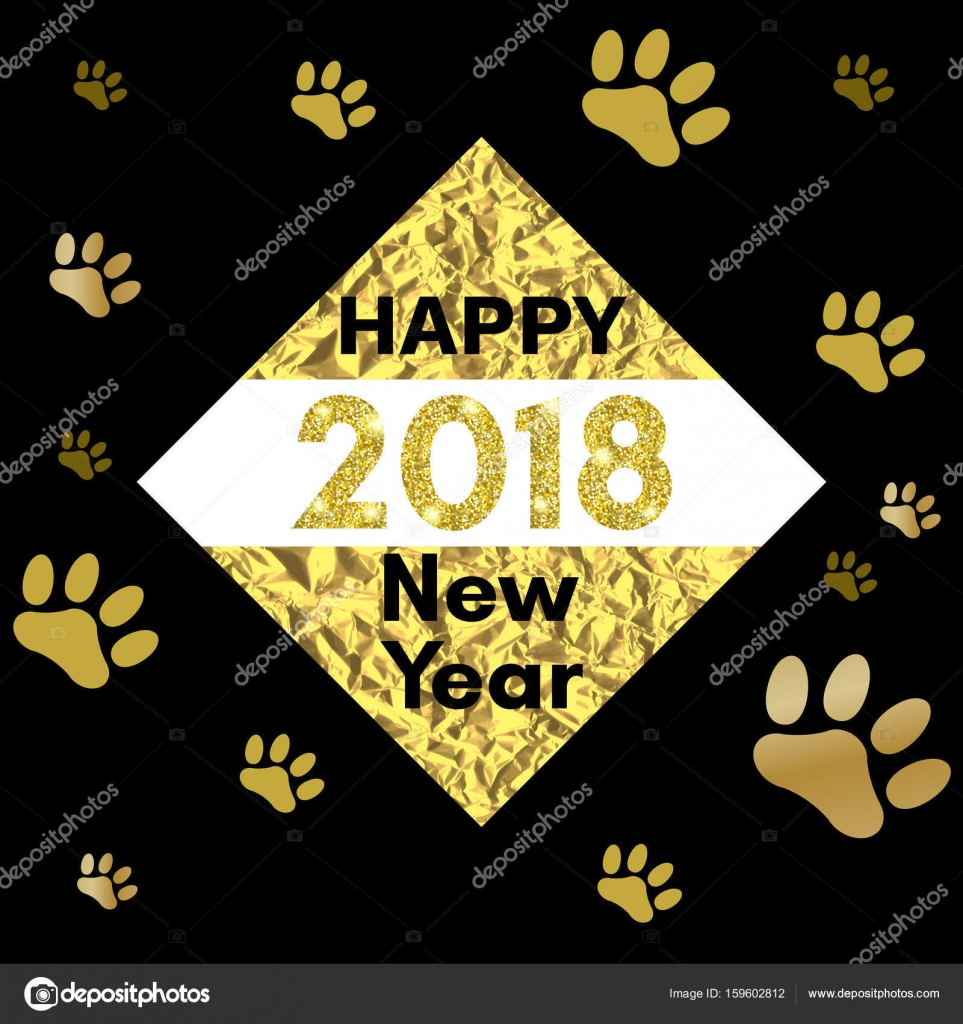 2018 chinese new year of yellow dog concept with golden vector paw track glitter geometric shapes and triangles template for calendar poster banner