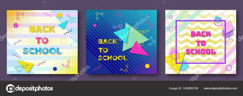 Back To School Posters Set In Trendy 90s Geometric Style With Lines