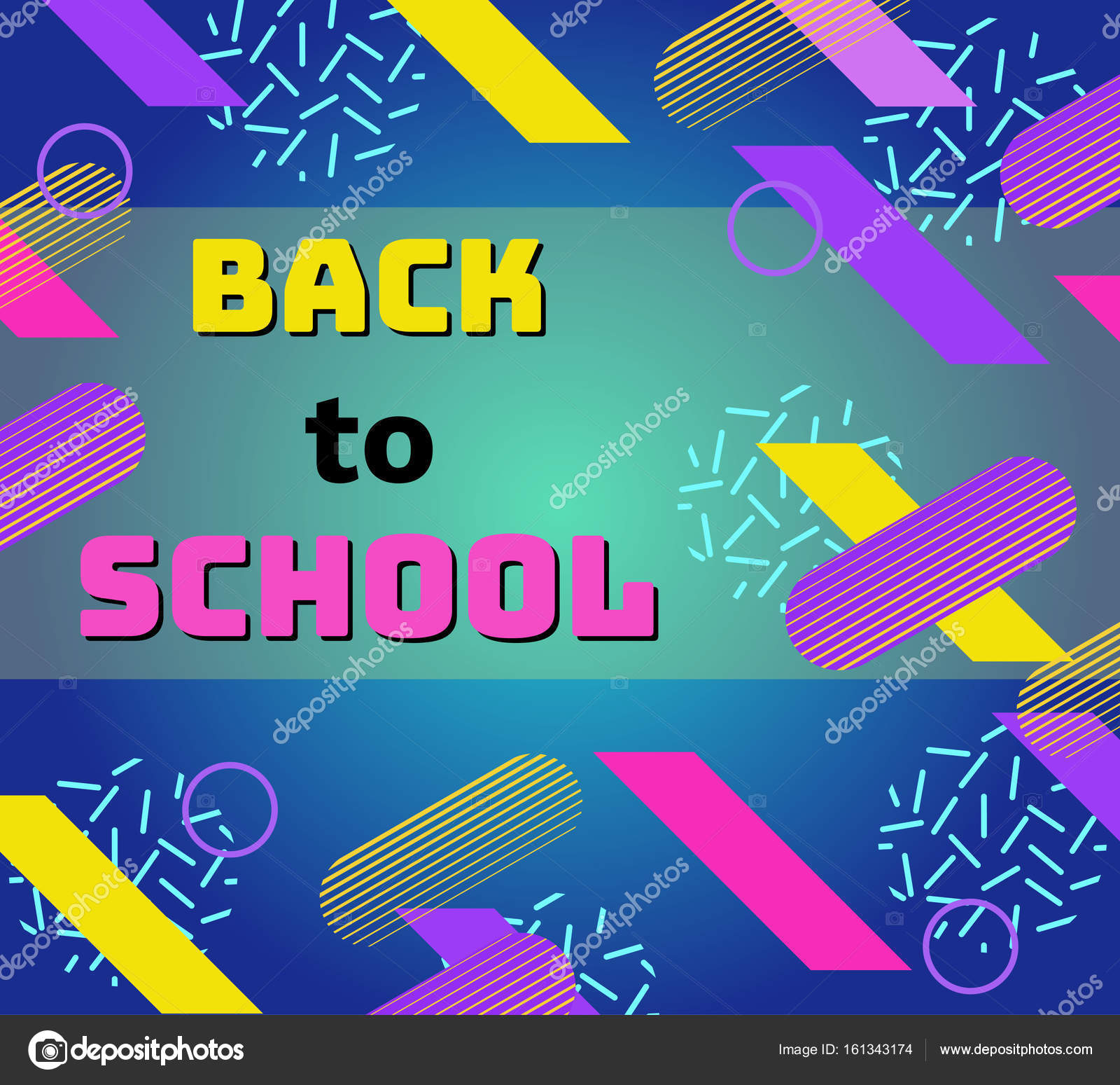 Back To School Banner In Trendy 90s Geometric Style With Lines And