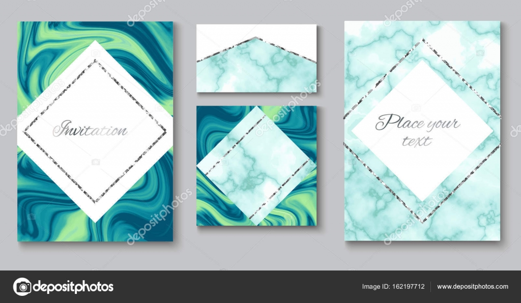 Wedding Invitation Background Set Marble Brochure Layout Color