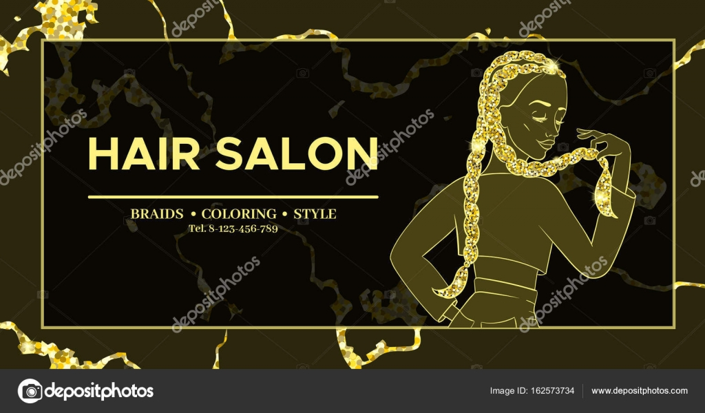 Hairdresser Or Hair Salon Banner Beauty Studio Poster Girl With Braided Hairstyle African Or Boxer Braids Trendy Hairstyle Design Template For Flyer Marble Gold Background Stock Vector C Nadine C 162573734