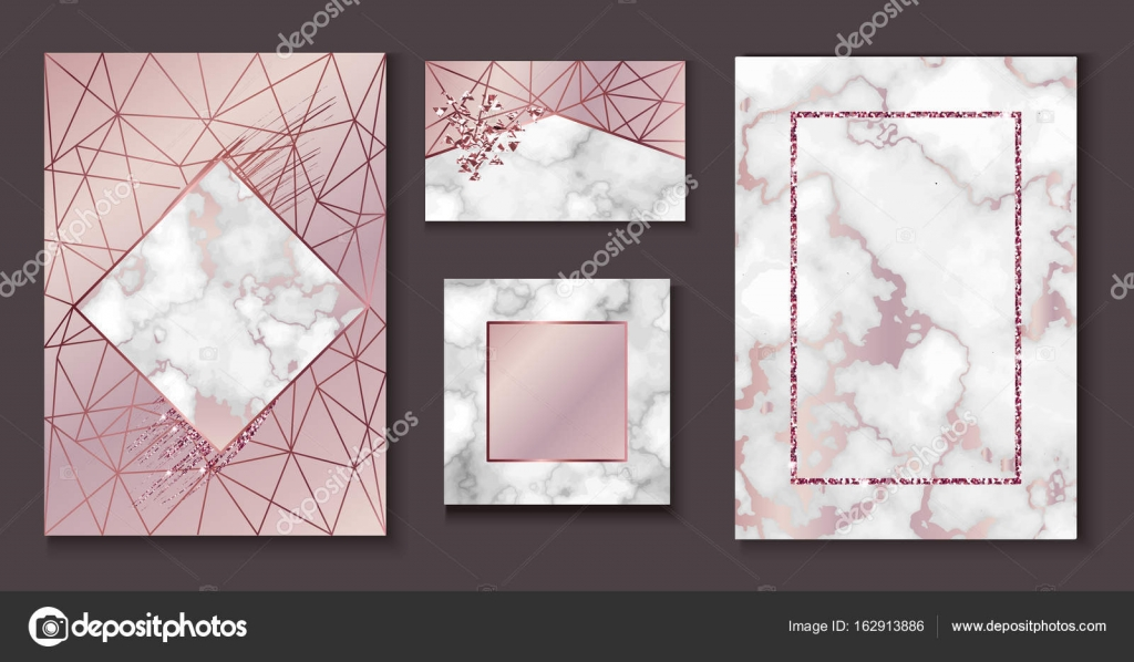 Marble brochure layout, wedding invitation set, business card ...