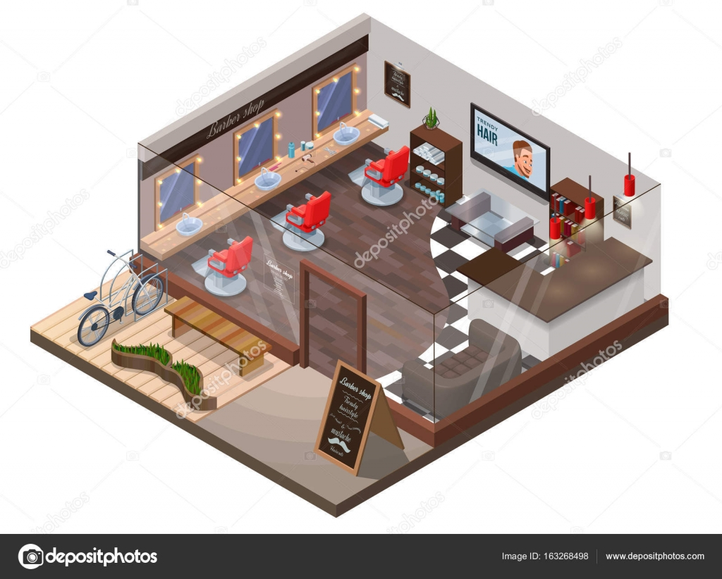 isometric 3d barber shop interior hipster hair salon design with modern wood furniture. Black Bedroom Furniture Sets. Home Design Ideas