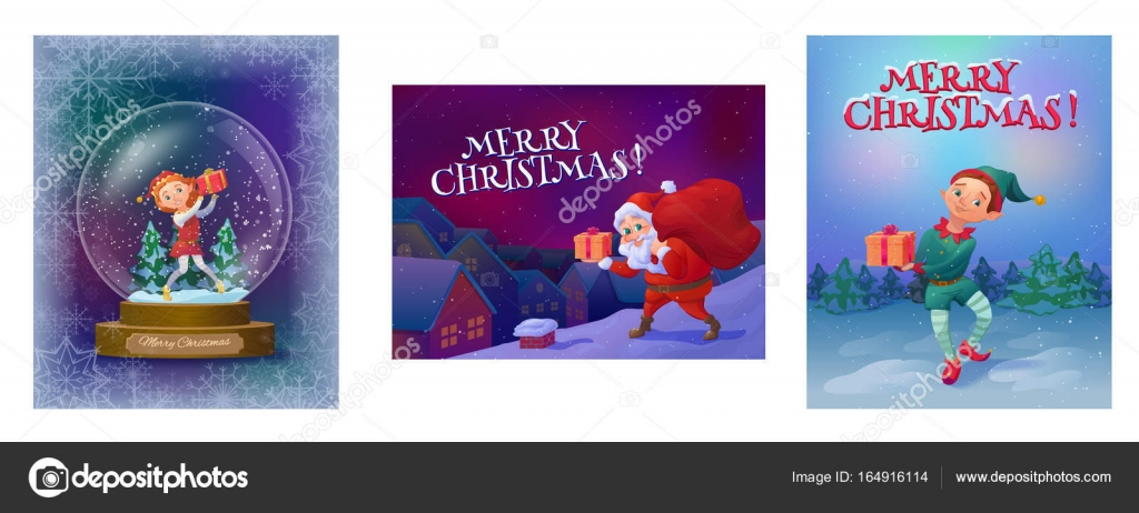 Christmas Greeting Cards Collection With Elf Girl In Snow Globe Elf Boy In The Woods