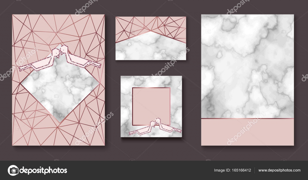 Marble wedding invitation, stone brochure, banner layout set ...
