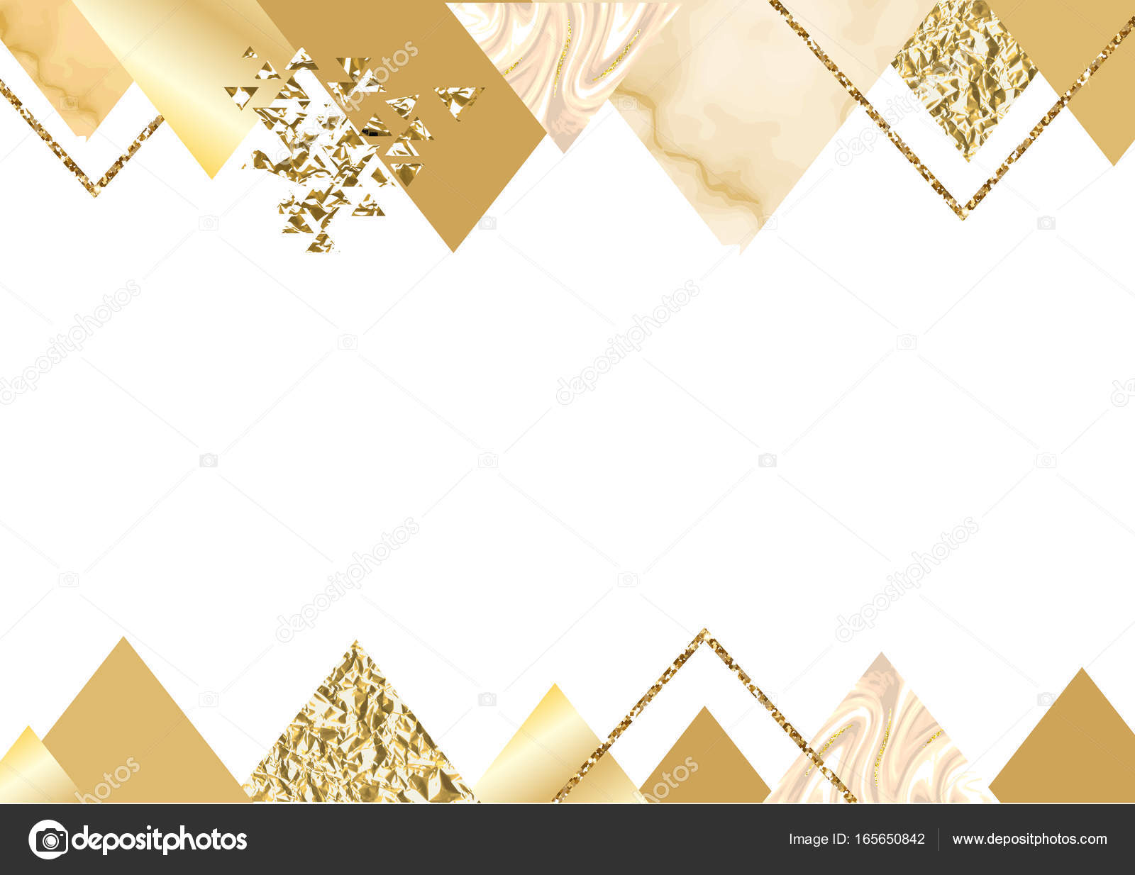 Trendy Minimalistic Geometric Style With Triangles Gold Lines Textures Granite Glitter Frame Vector Fashion Wallpaper Poster By Nadine C