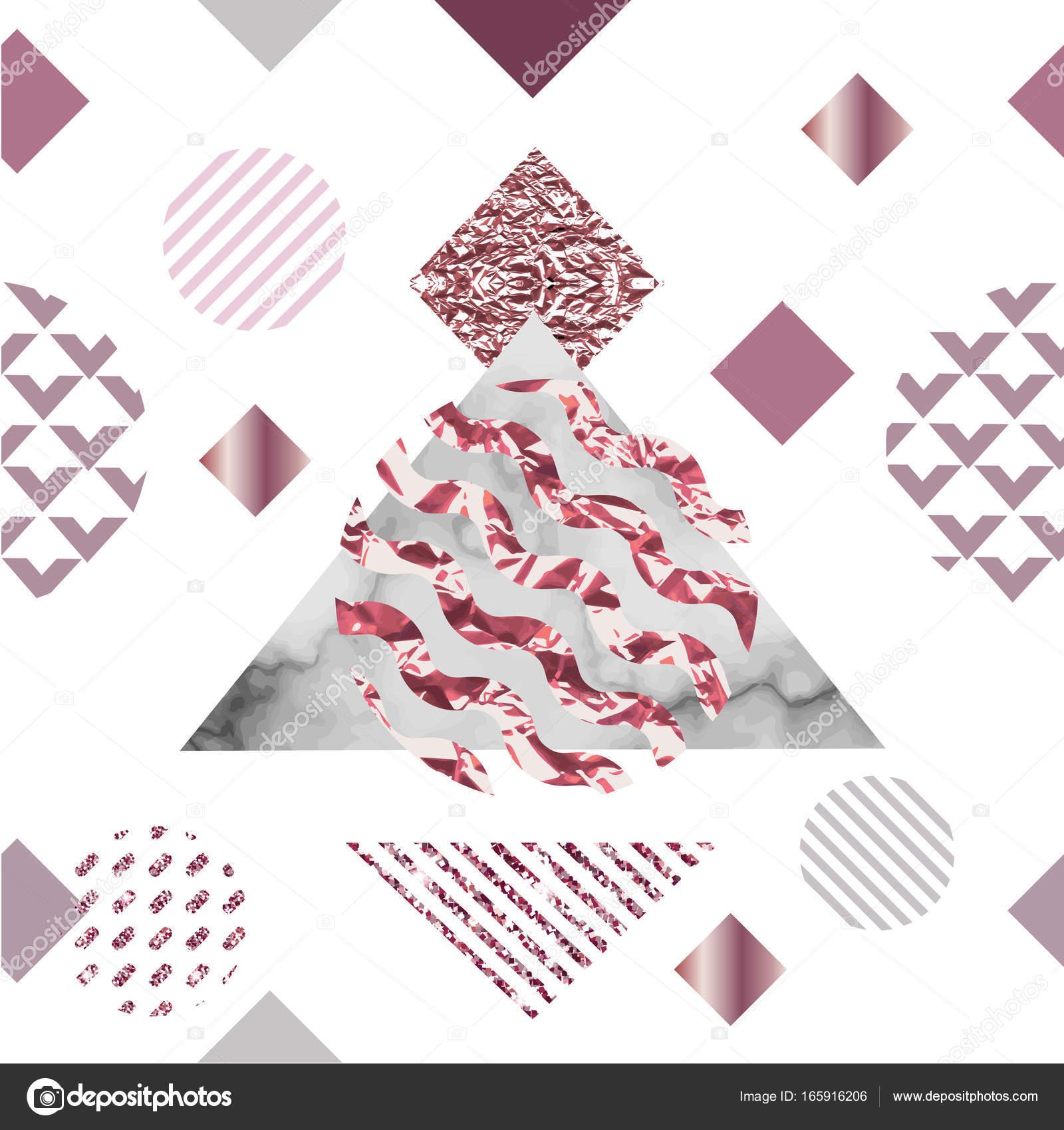 Marbre Or Rose Sans Soudure De Fond En Style Geometrique Minimaliste