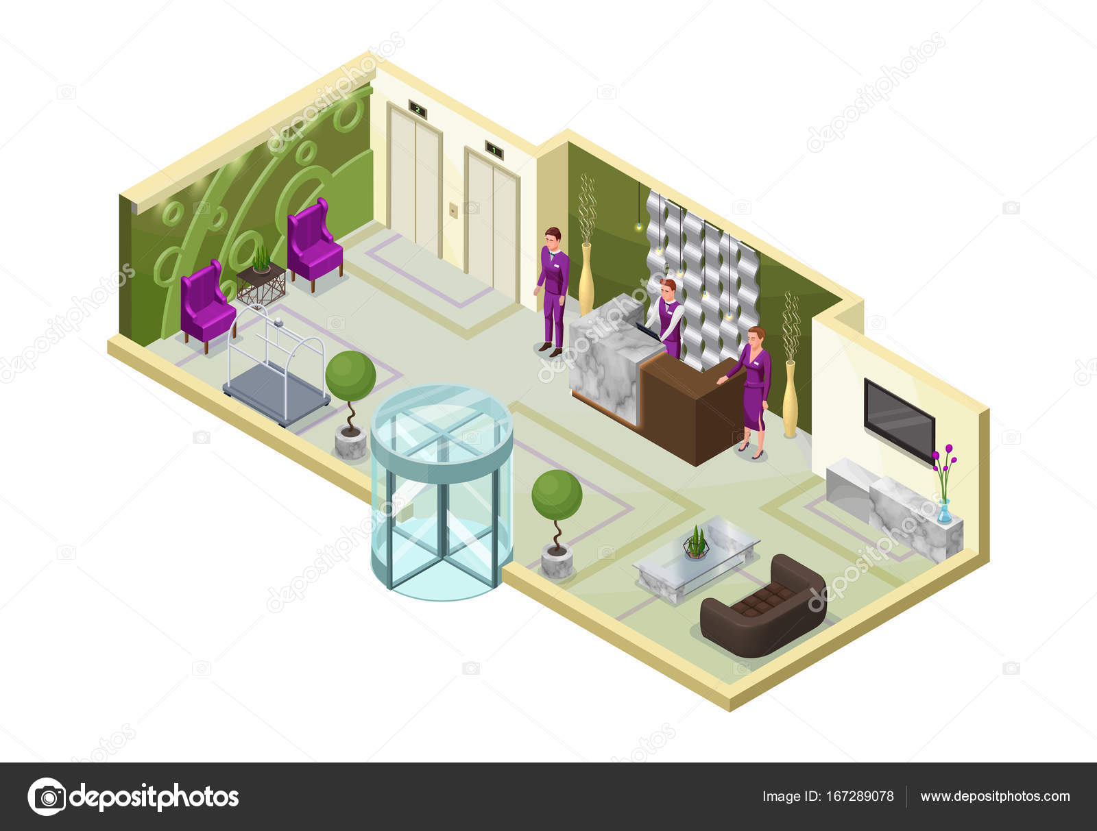 Hotel Isometric 3d Ilration With People Lobby Reception Desk Marble Furniture Trendy