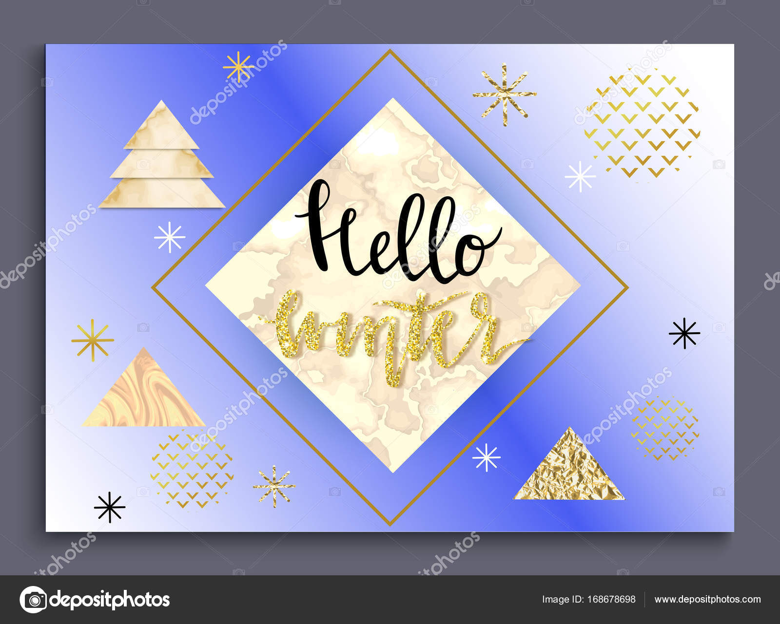 Hello Winter Greeting Card In Trendy Style With Lettering Colorful