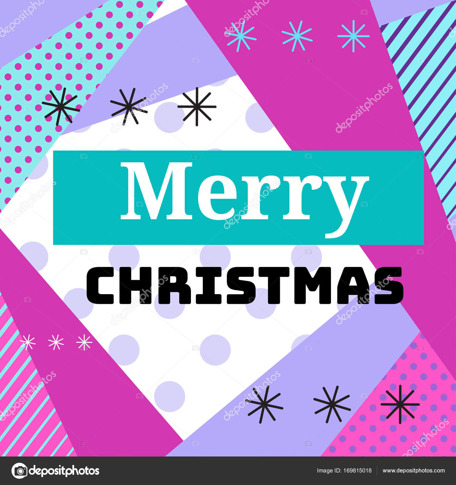 Merry christmas geometric greeting card in trendy memphis 90s style merry christmas geometric greeting card in trendy memphis 90s style with triangles lines text m4hsunfo