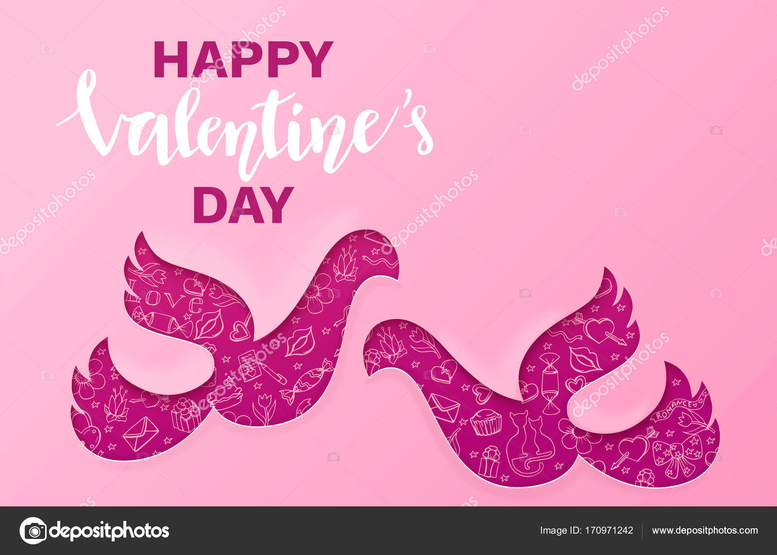 Valentines Day Banner In Trendy Paper Art Style With Carved Couple
