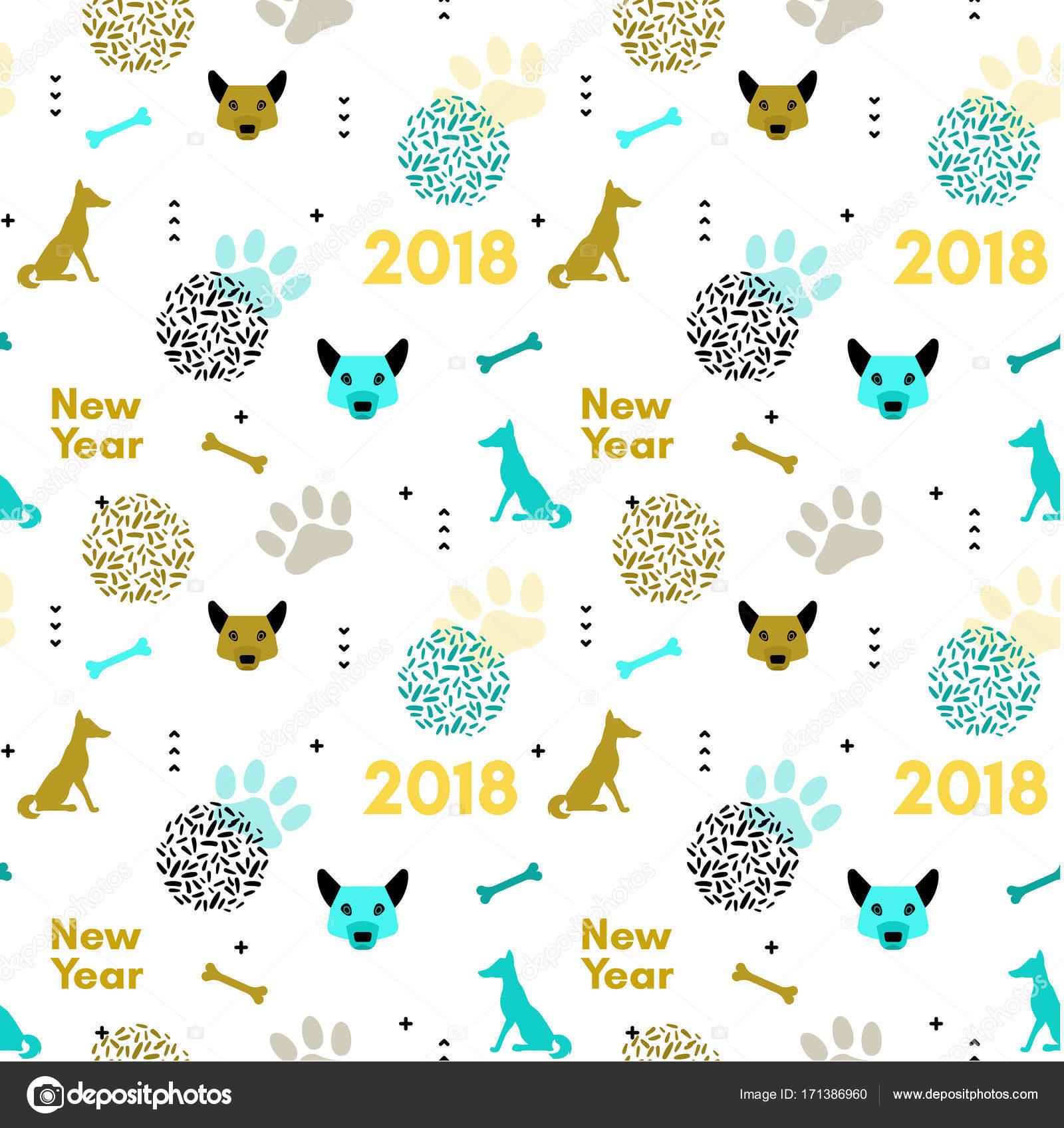 Hund Neujahr Musterdesign im trendigen geometrischen skandinavischen ...