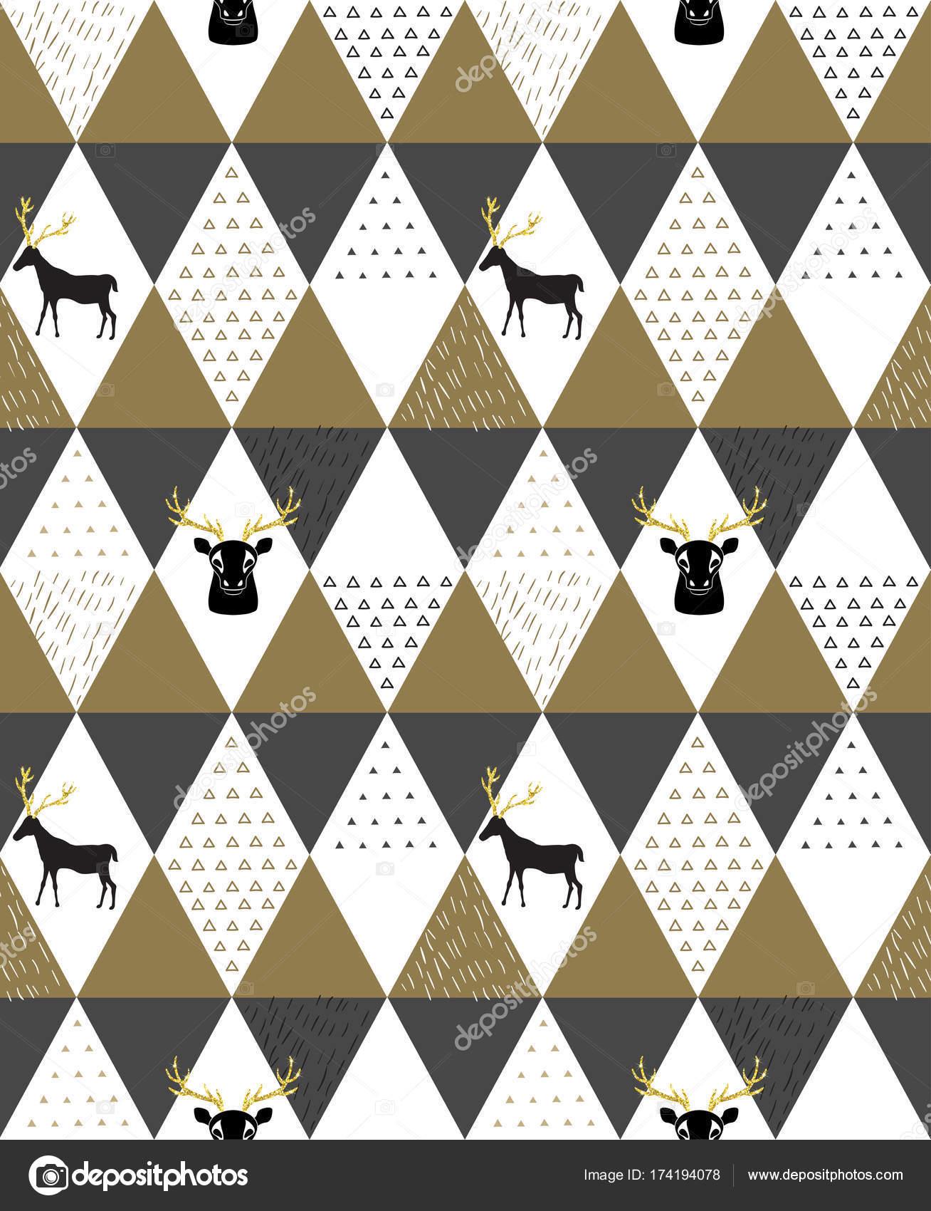 Reno geométricas moda de patrones sin fisuras con silueta animal ...