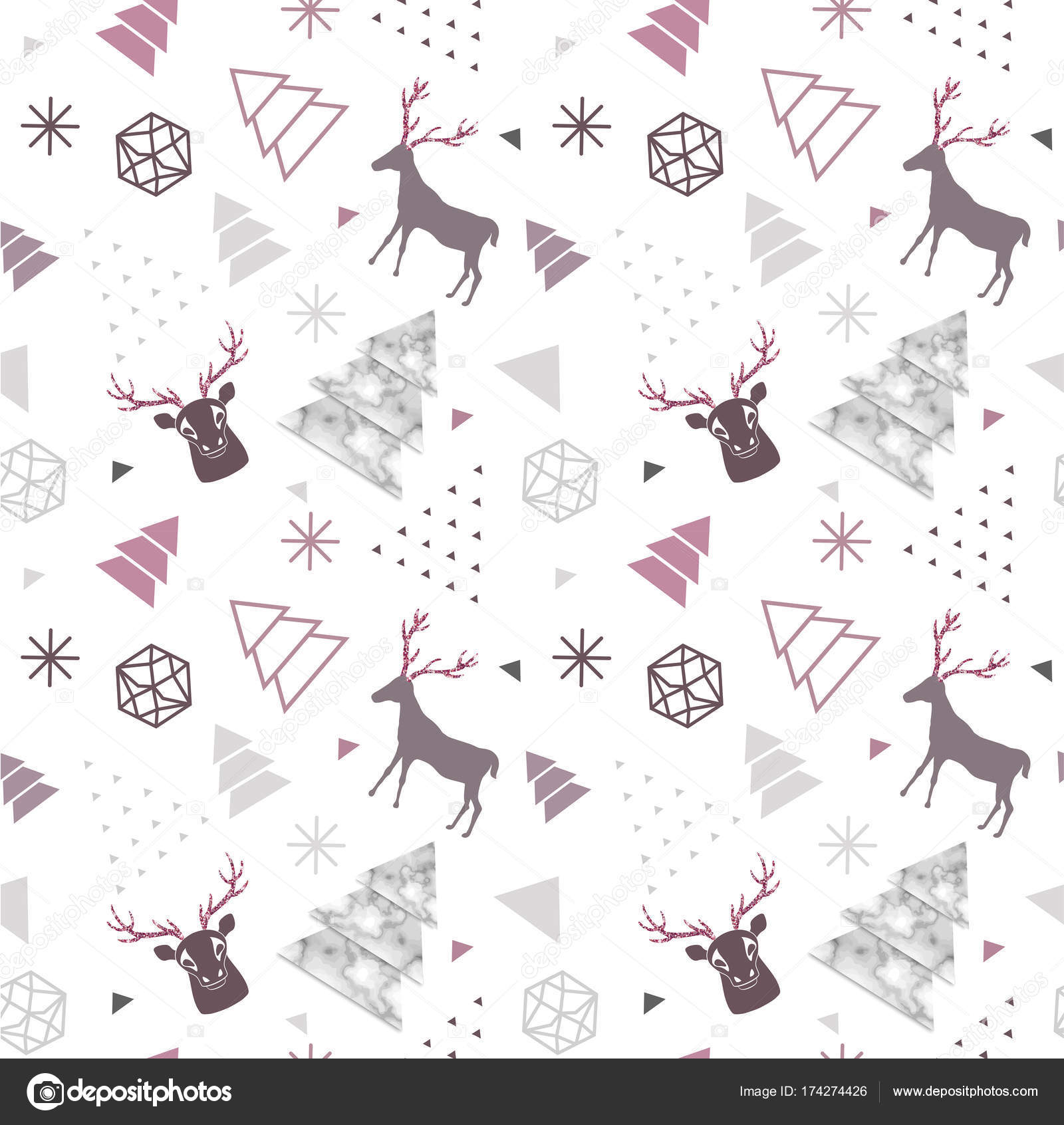 Reindeer geometric trendy seamless pattern with animal silhouette reindeer geometric trendy seamless pattern with animal silhouette marble texture winter holidays scandinavian minimal pattern invitation vector stopboris Choice Image