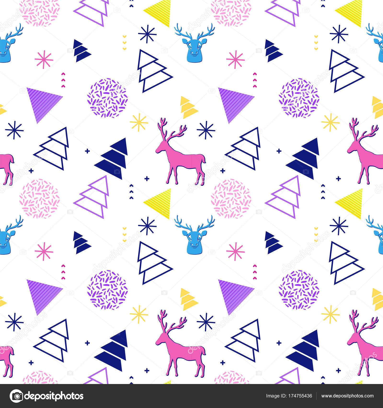 90s Christmas Background.Merry Christmas Geometric Seamless Pattern In Trendy 90s Style With