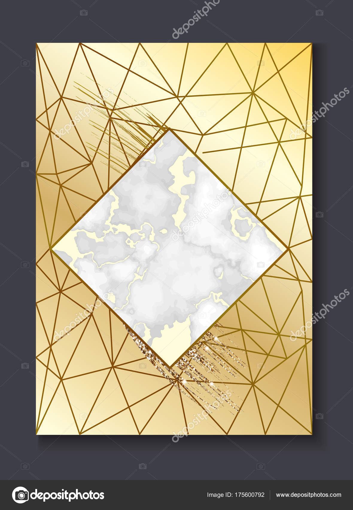 Brochure Or Bannire Mise En Jeu Carte De Visite Marbre Ou Arrire Plan Dans Le Style Gomtrique Minimaliste Branch Lignes Textures Granit