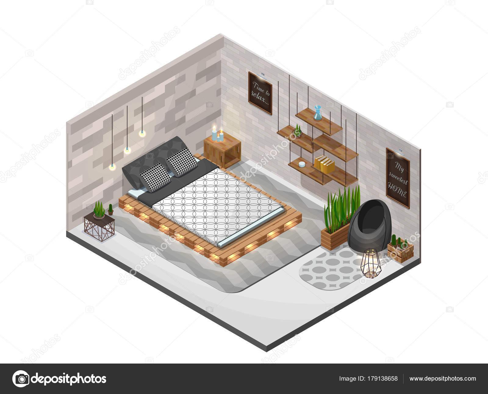 scandinavische interieur slaapkamer isometrische infographic 3d gezellige indeling met pallet diy houten meubels plank