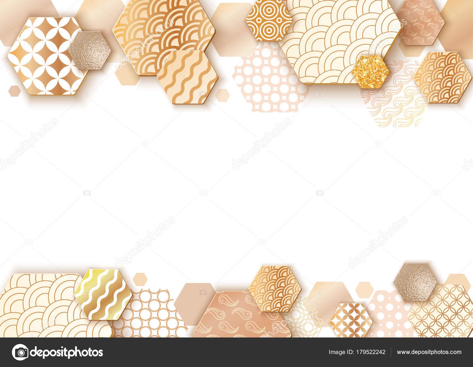 Paper art frame with japan wave pattern, brochure, business card ...