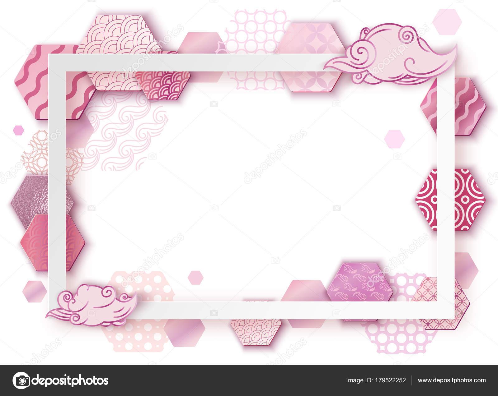 Papier Kunst rosa Rahmen mit Japan Wellenmuster, Broschüre ...