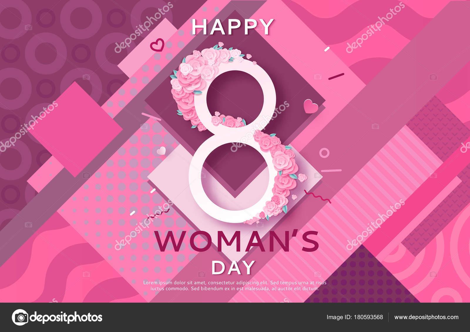 8 Art Elements : Geometric women s day banner march poster in modern