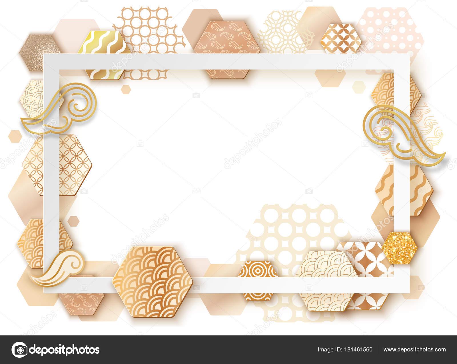 Marco de oro con el patrón de onda de Japón, folleto arte de papel ...