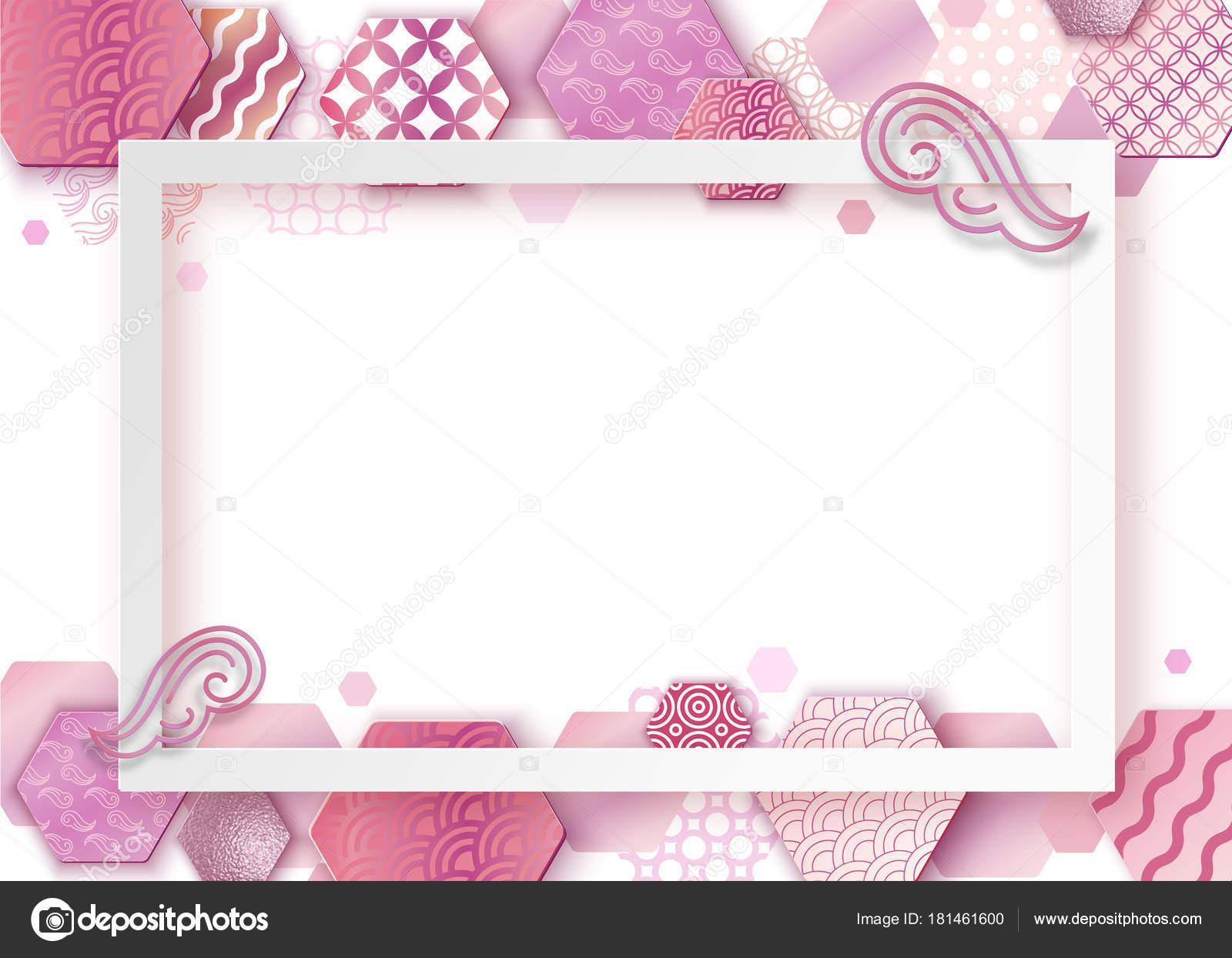 Cadre Art Rose Papier Avec Point De Vagues Au Japon Brochure Carte Visite Modle Ou Arrire Plan Dans Un Style Gomtrique Oriental Branch