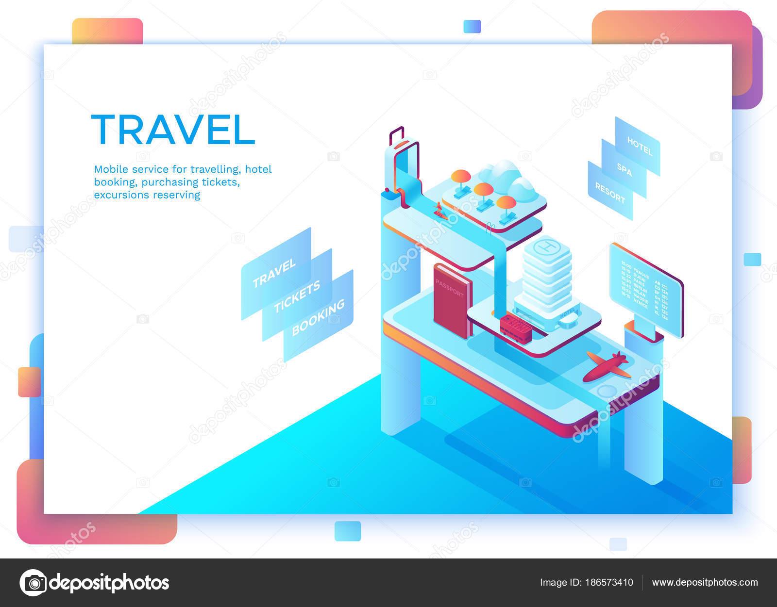 Concepto de viaje móvil, plantilla de página de aterrizaje con ...