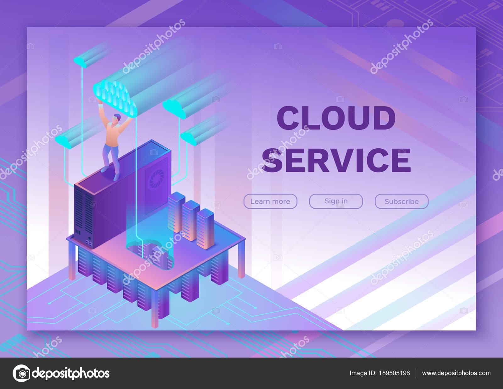 Hombre que sostiene la nube ilustración 3d isométrico infografía ...