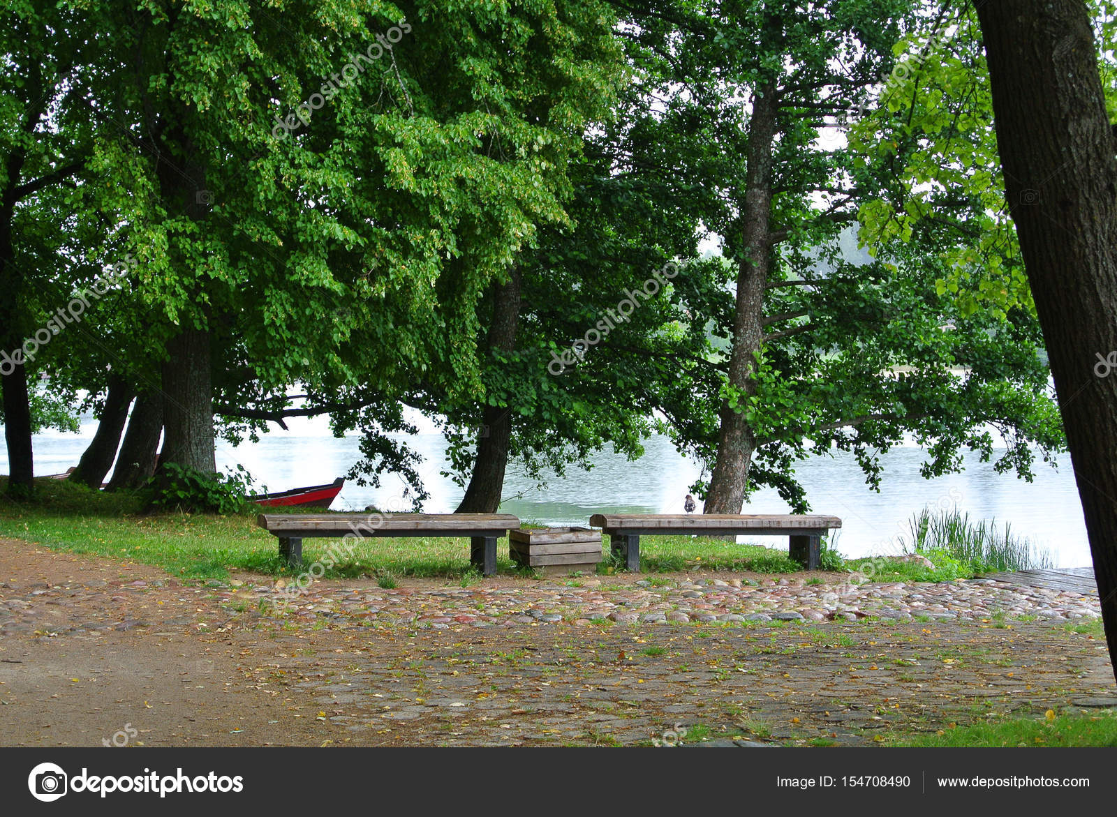 Magnificent Rainy Day At Trakai Natural Park A View To A Lake Old Big Evergreenethics Interior Chair Design Evergreenethicsorg
