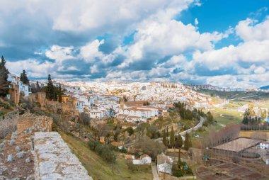 Aerial panoramic view of Ronda, tradational white houses with ti
