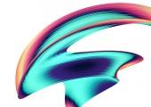 3D render absztrakt háttér. Színes 90-es évek stílusú csavart formák a mozgás. Irizáló digitális művészet, plakát, transzparens háttér, design elem. Holografikus elszigetelt fólia szalag fehér háttér