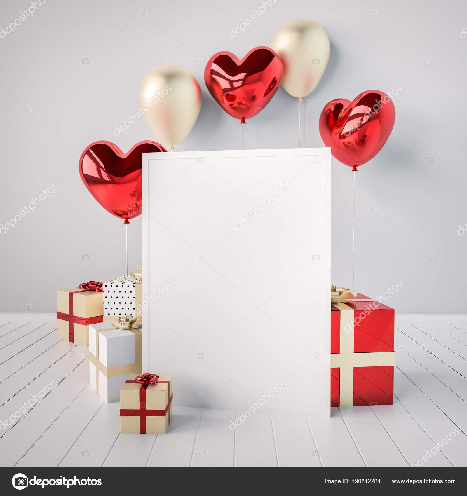 Poster Mock Red Golden Glossy Realistic Balloons Heart Shape Stick ...