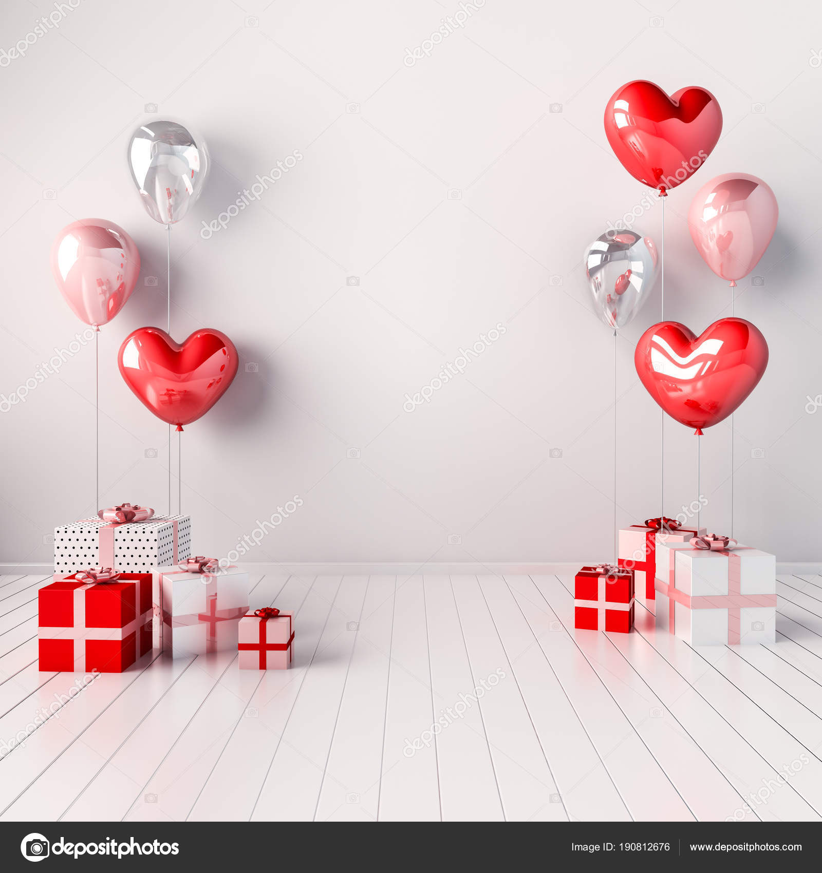 Interior Illustration Pink Red Heart Balloons Gift Boxes Glossy ...