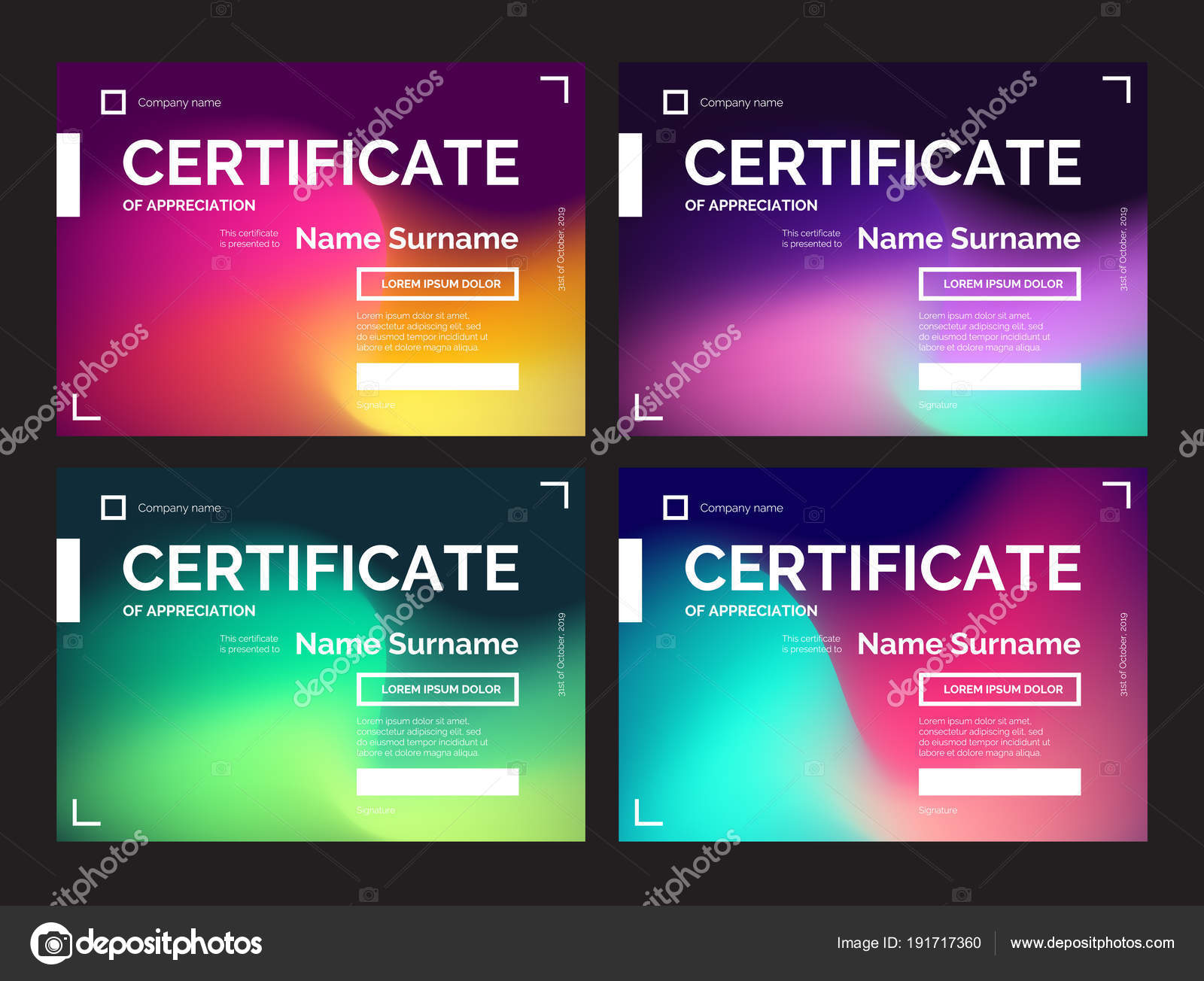 set dark certificate templates modern gradients abstract style