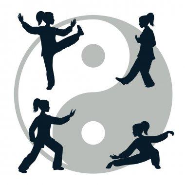 Vector silhouettes of Tai Chi