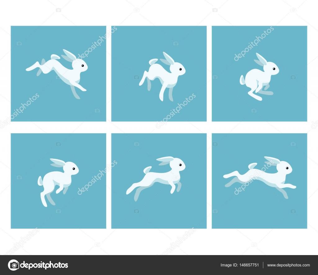 Running Rabbit Animation Sprite Stock Vector Eloku 146657751