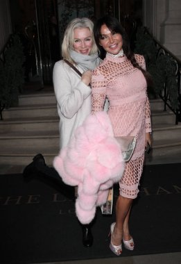 London, UK. 24th November, 2017. Nell McAndrew and Lizzie Cundy seen at the Langham Hotel in London